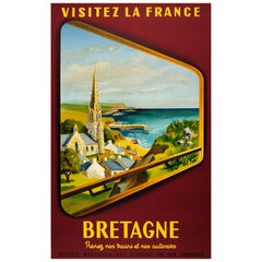 "Original Vintage SNCF Railway Travel Poster ""Visit France Brittany"" by Train"