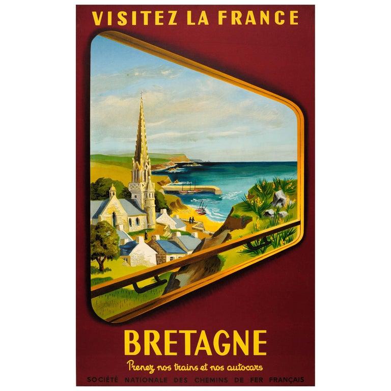 "Original Vintage SNCF Railway Travel Poster ""Visit France Brittany"" by Train For Sale"