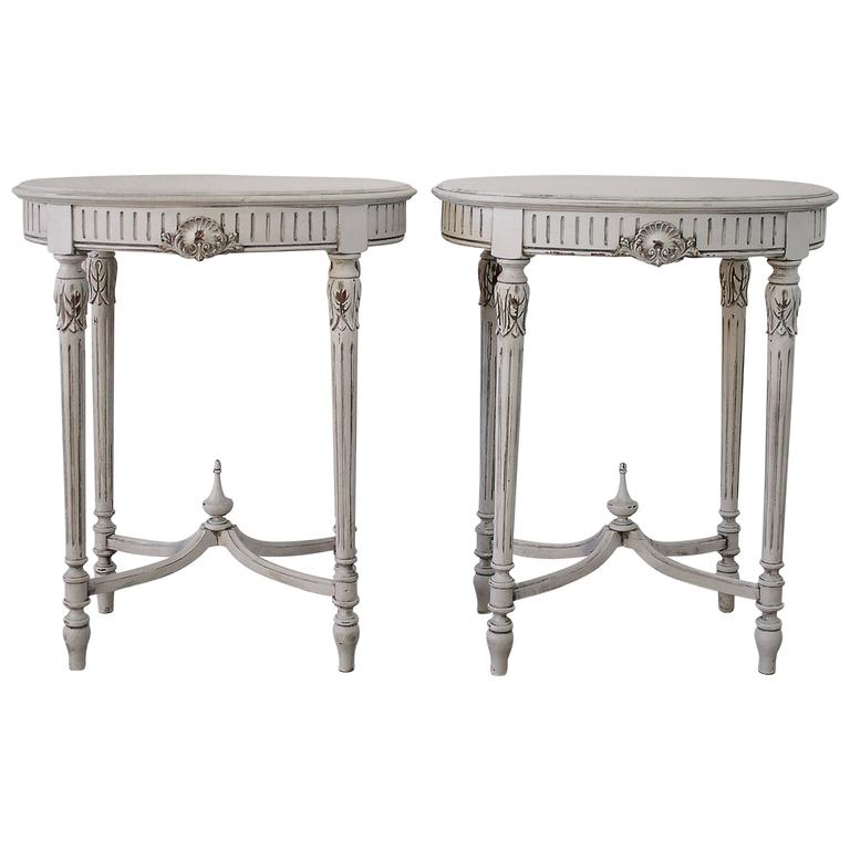 Pair Of 20th Century Painted And Carved French Louis Xvi Side Tables For