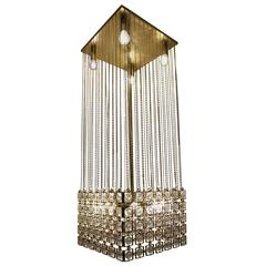 Chandelier in Gilded Metal and Glass in the Style of Paco Rabanne
