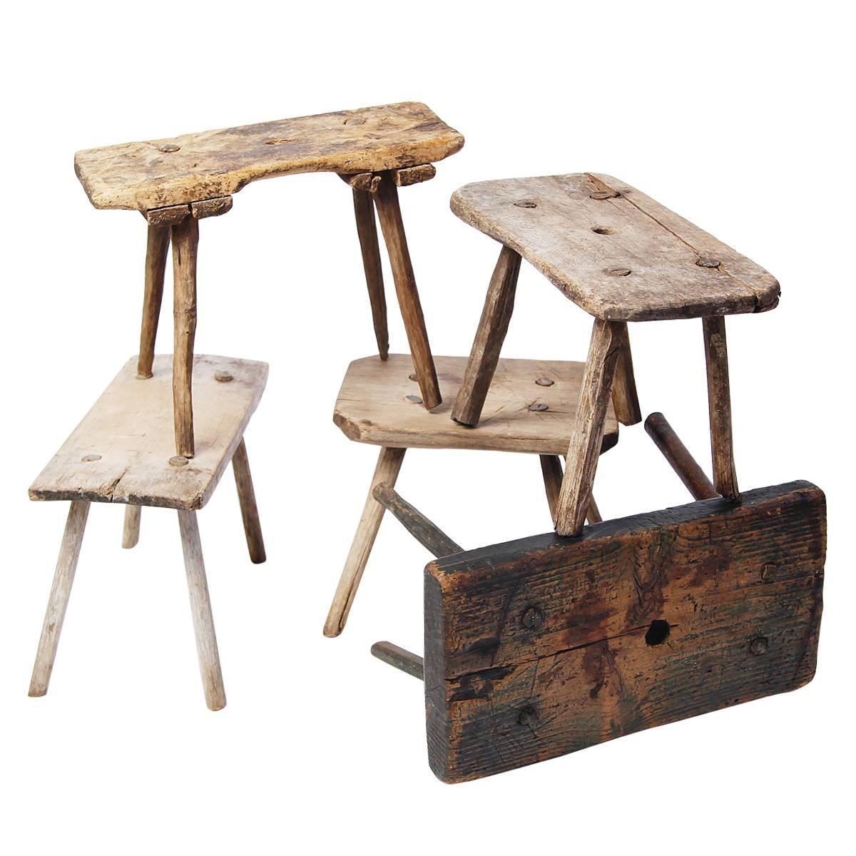 Milking Bench Part - 30: Three Swedish Milking Stools At 1stdibs