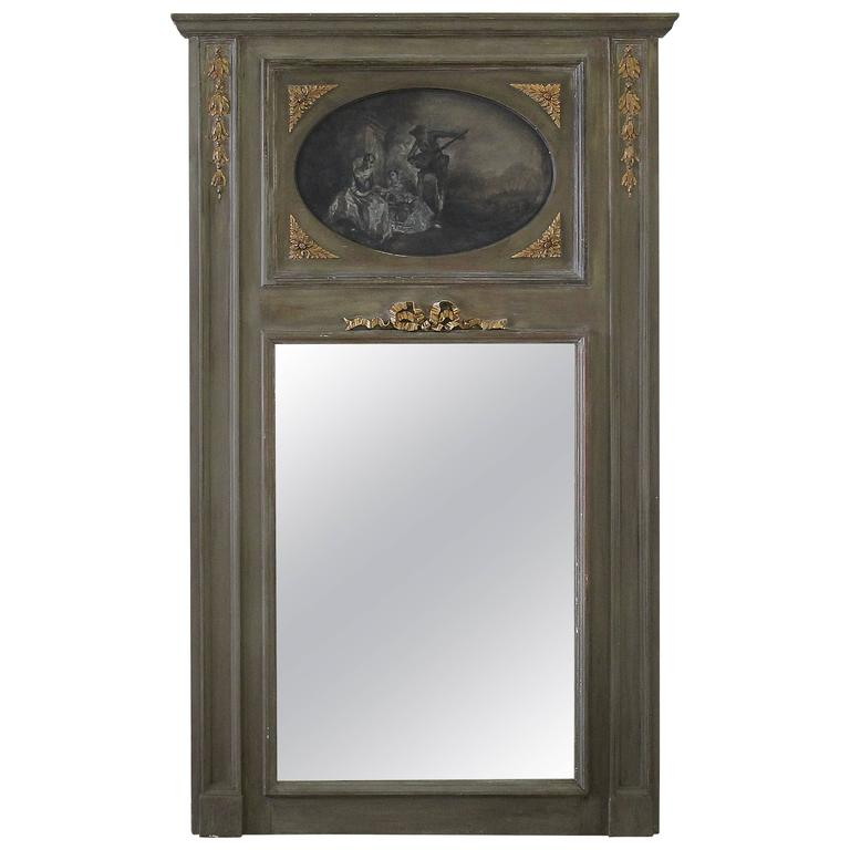 Painted French Trumeau Mirror