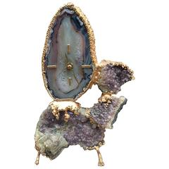 Jacques Duval Brasseur, Table Clock in Bronze, Agate and Gemstone