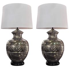 Pair of Metallic Glazed Pottery Urn Lamps