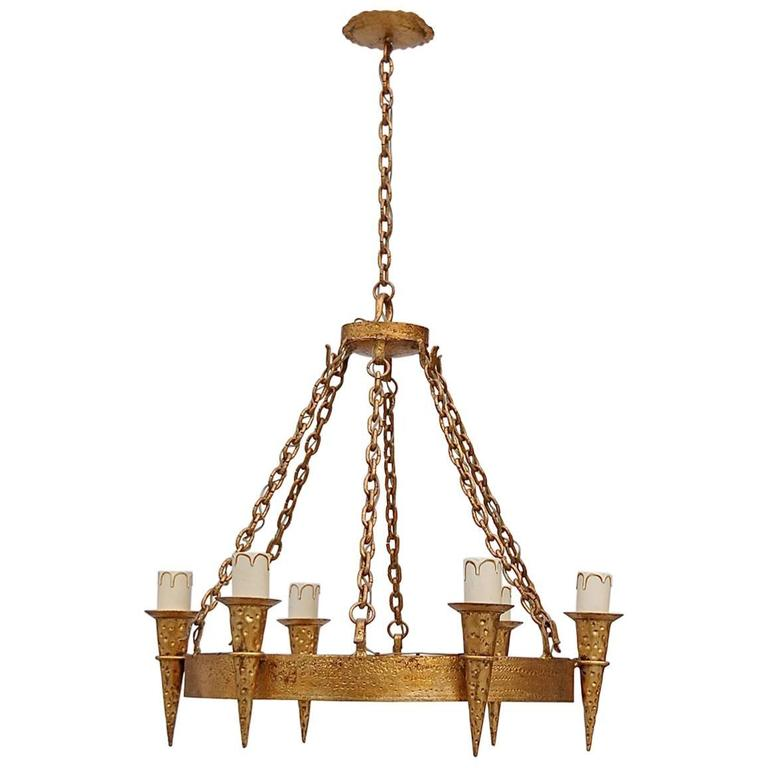 Gold Coloured Me val Style Chandelier Late 20th Century