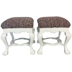 20th Century Pair Of Queen Anne Style Mahogany Upholstered Benches