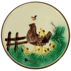 German Majolica Hen & Chicks Wall Plate, circa 1900