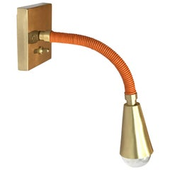 Meander Leather and Brass Flexible Single Sconce