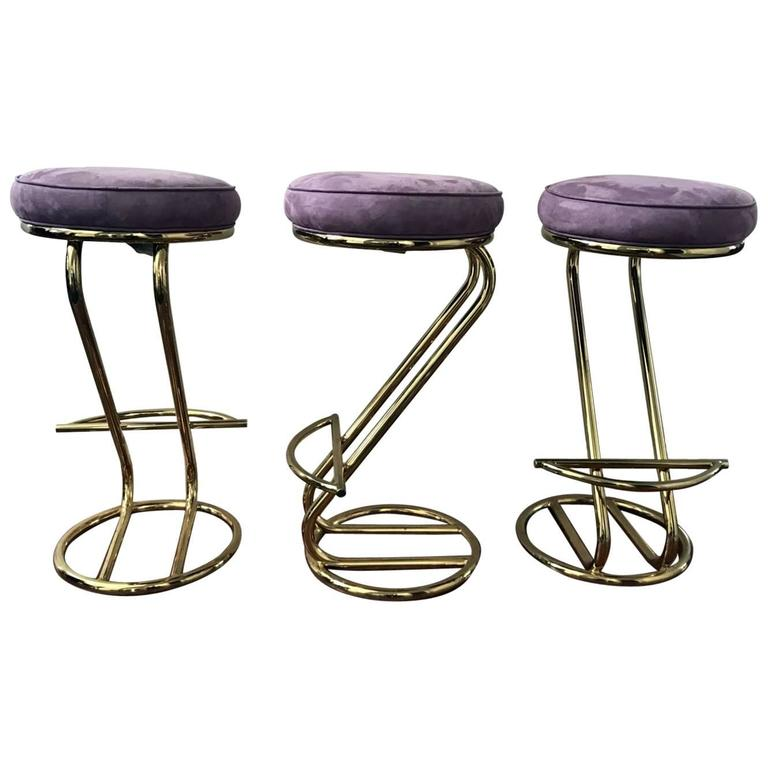 1980s Set Of Three Brass Framed Upholstered Bar Stools By