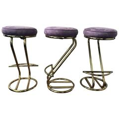 1980s Set of Three Brass Framed Upholstered Bar Stools by Swaim Designs