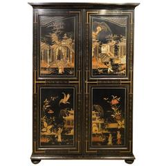 Fine Quality Chinoiserie Lacquered Edwardian Period Two-Door Wardrobe