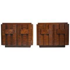 Mid-Century Brutalist Side Tables or Nightstands