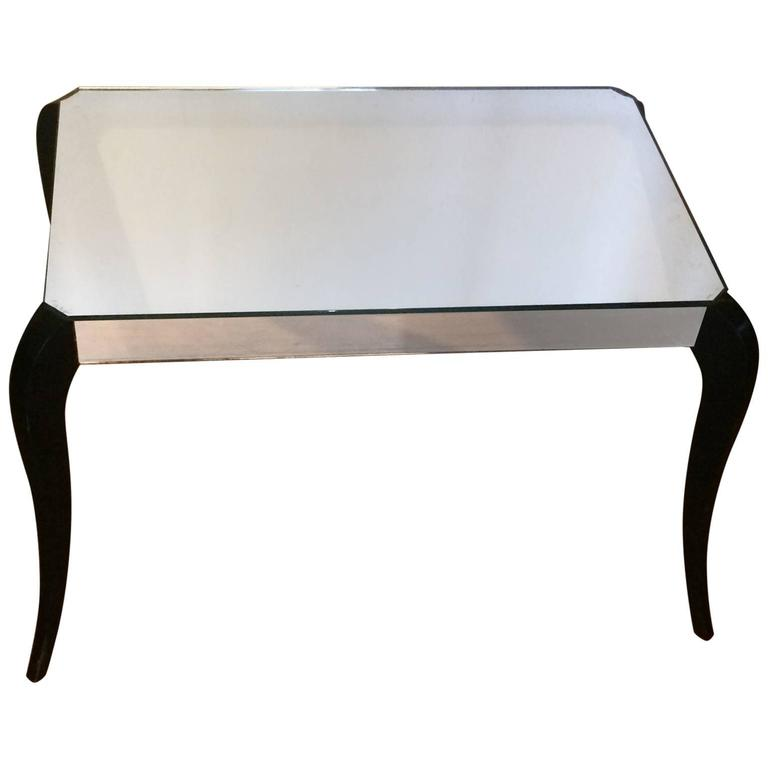 Original Art Deco French Mirrored Side Coffee Table, circa 1930 1