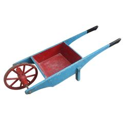 Vintage Gardenalia Folk Art Miniature Wooden Display Wheelbarrow Scratch Built