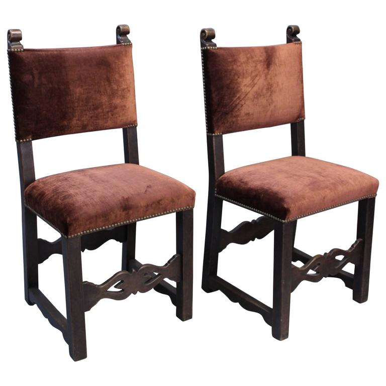 Pair of s carved walnut wood side chairs at stdibs