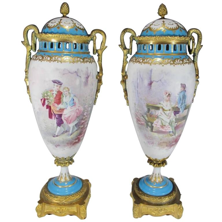 Antique French Sevres Pair Of Bronze And Porcelain Urns At
