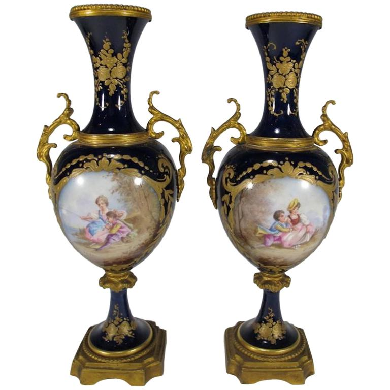 19th Century Antique French Svres Pair Of Porcelain And Bronze Urns