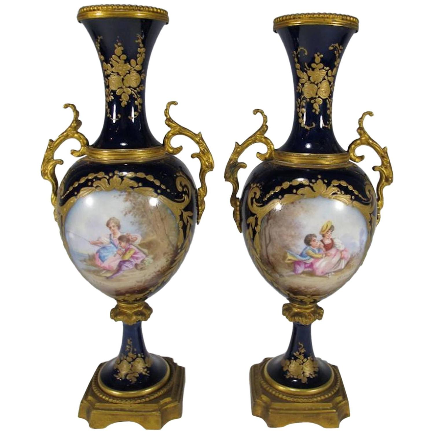 19th century antique french svres pair of porcelain and bronze 19th century antique french svres pair of porcelain and bronze urns for sale at 1stdibs reviewsmspy