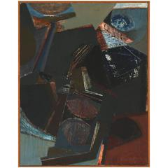 1950s Abstract Oil by Danish Artist Hugo Arne Buch