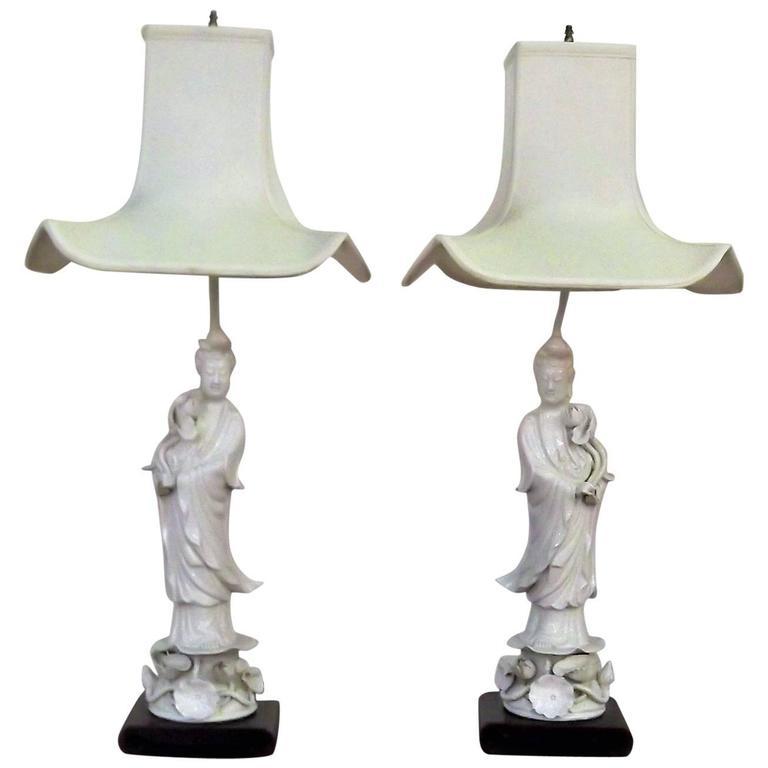Pair of Quan Yin Blanc De Chine Lamps