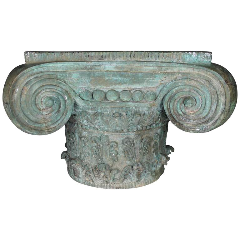 Vintage Patinated Bronze Ionic Capital Table Base Or Pedestal For