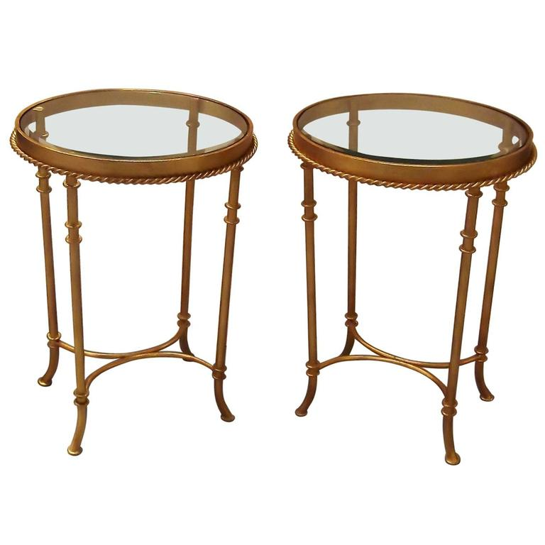 Italian Gold Gilt Iron And Glass Faux Bamboo Metal Square: Pair Of Gilt Iron Bunching Accent Tables With Glass Tops