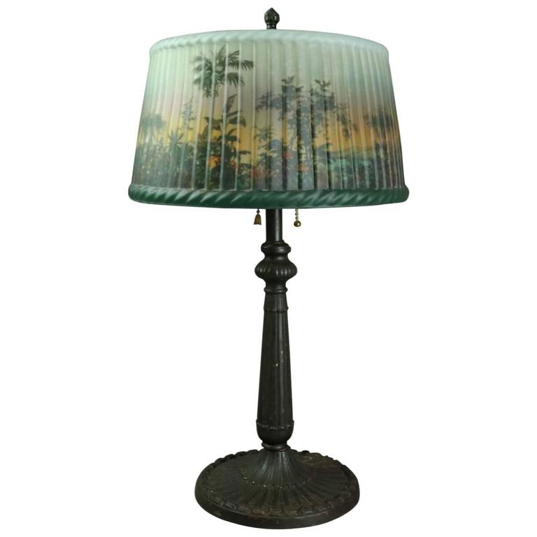 Pittsburgh Lamp Reverse Painted With Jungle Scene On