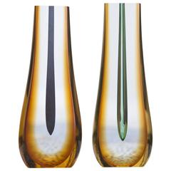 Pavel Hlava Sculptural Glass Vase Set of Two