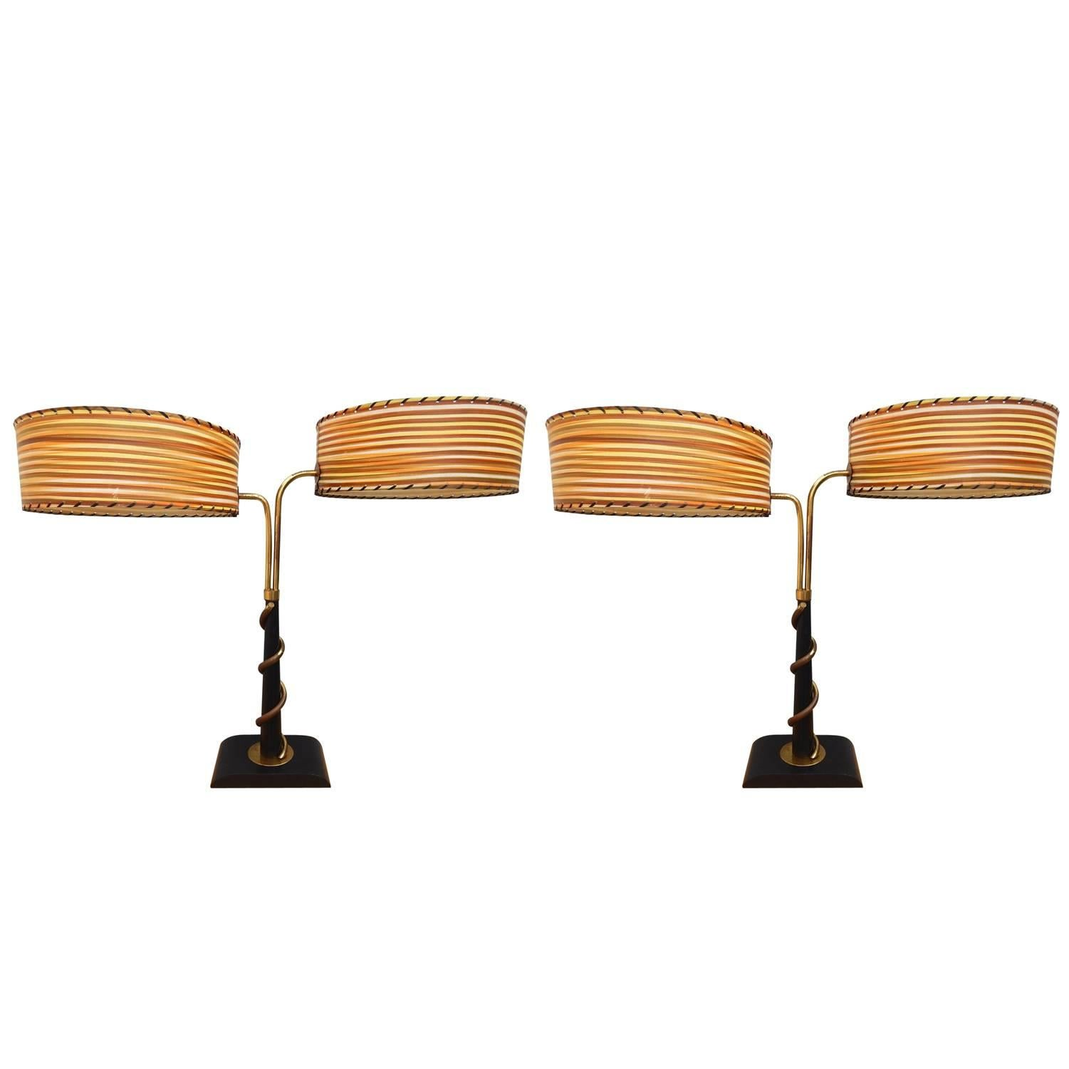 Pair of Mid-Century Modern Majestic Lamp Co. Table Lamps