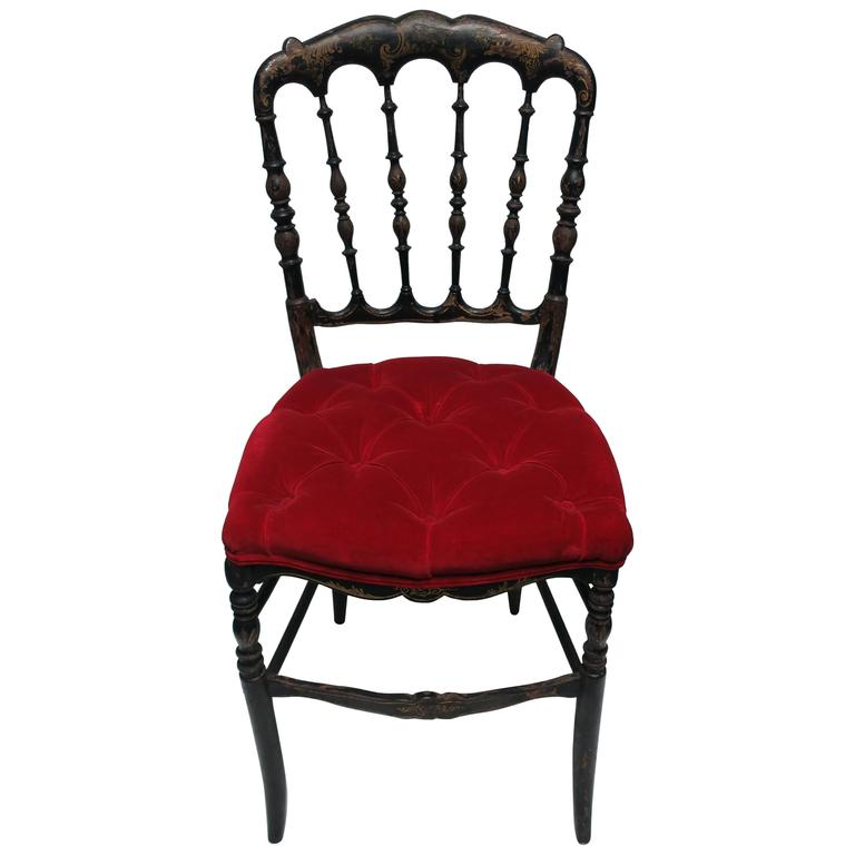 Antique English Chinoiserie Black Chair with Red Velvet Tufted Seat Cushion  For Sale - Antique English Chinoiserie Black Chair With Red Velvet Tufted Seat