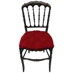 Antique English Chinoiserie Black Chair with Red Velvet Tufted Seat Cushion
