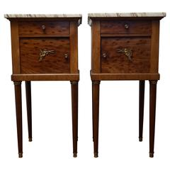 Antique Pair of Empire Style Nightstands Bedside Cabinets, Gilt Bronze & Marble