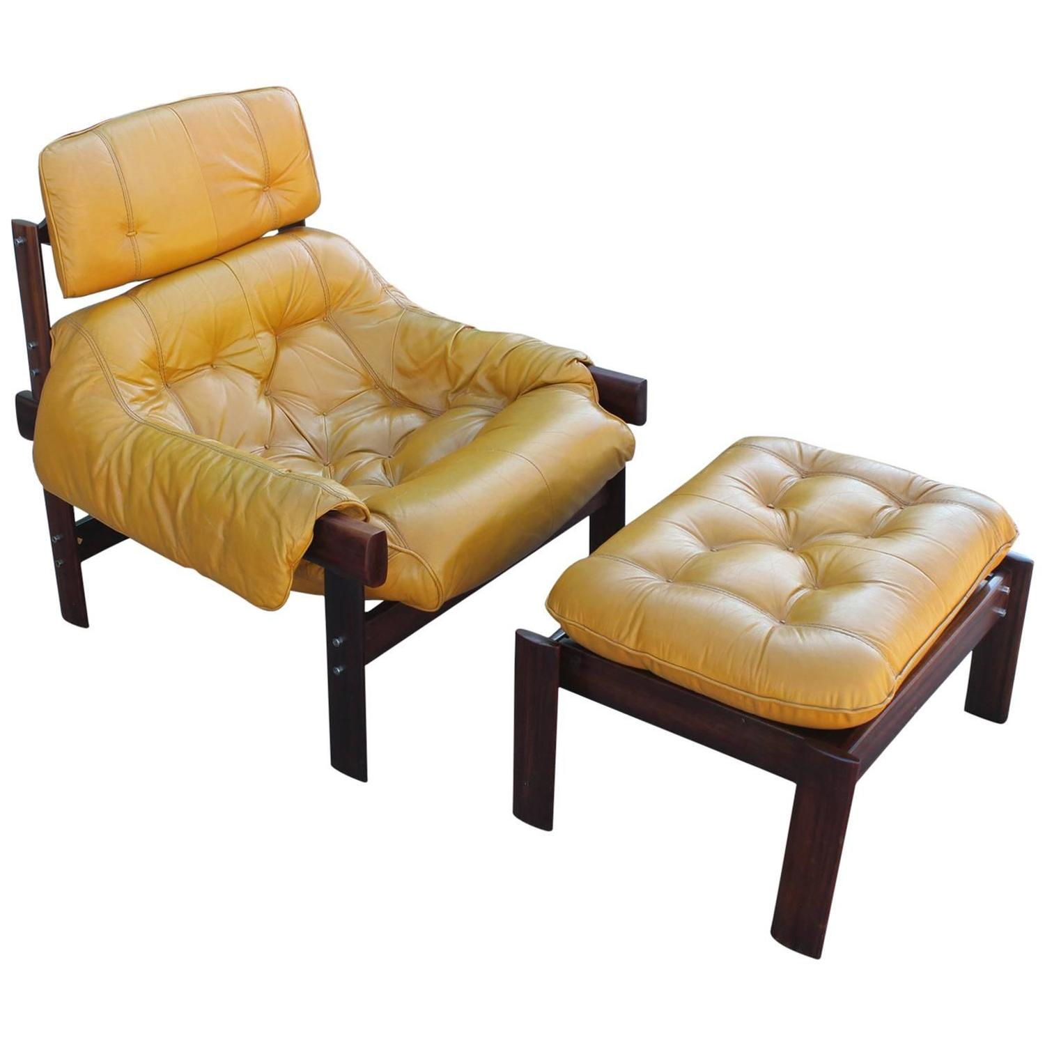 Percival Lafer Brazilian Mustard Yellow Lounge Chair with Ottoman