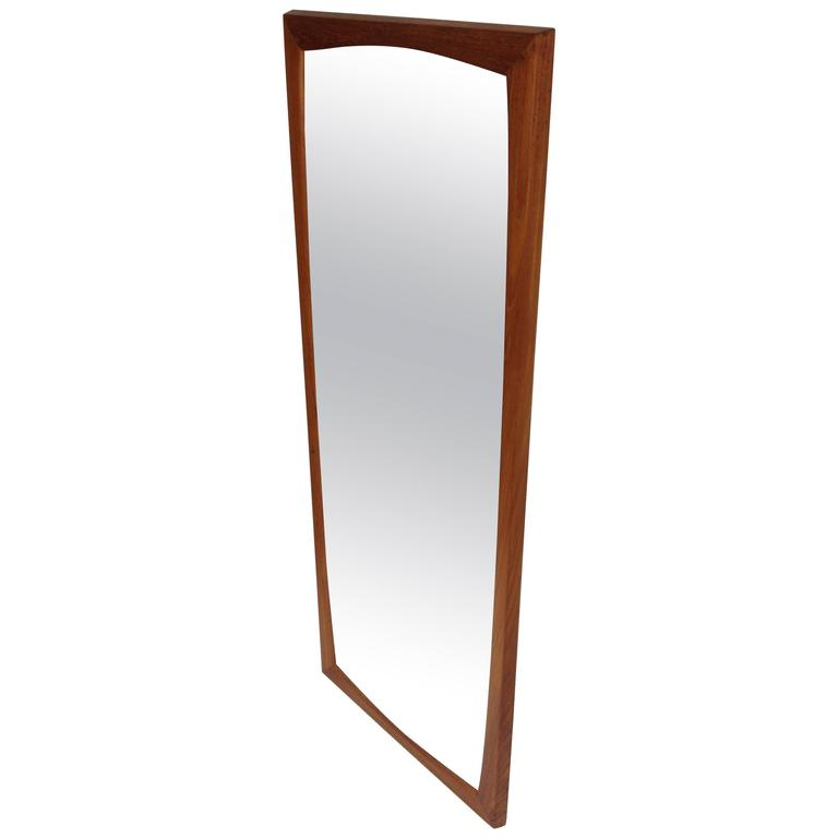 gorgeous 1960s solid teak framed mirror by aksel kjersgaard