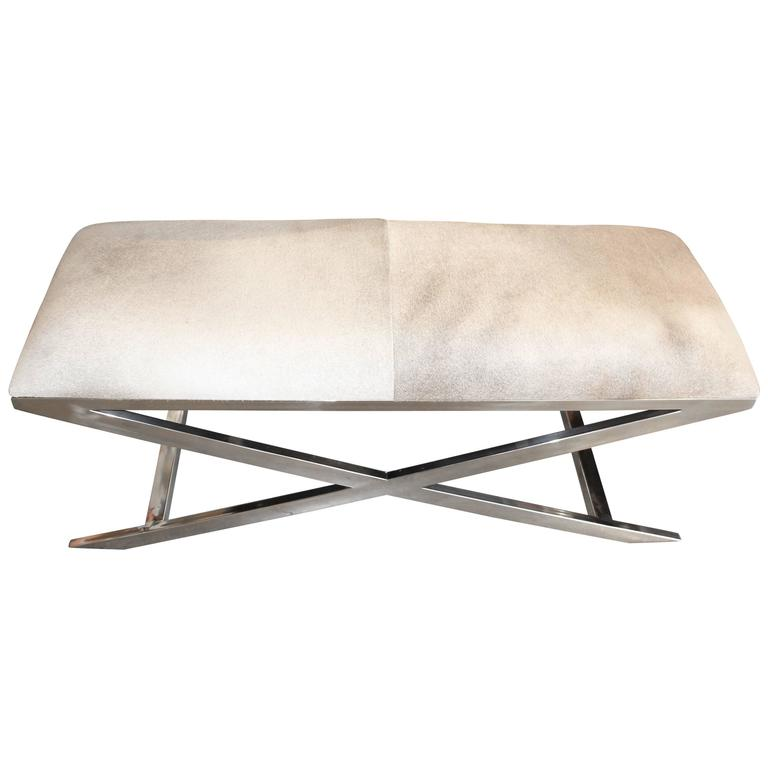 Hide And Chrome X Base Bench At 1stdibs