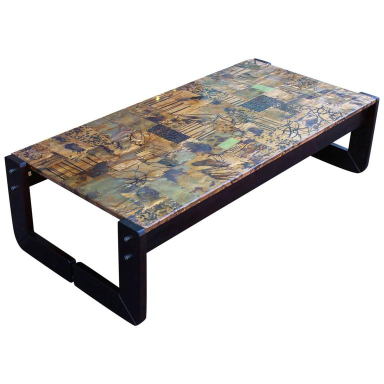 Modern Copper Coffee Table: Brutalist Percival Lafer Modern Copper Patchwork Coffee