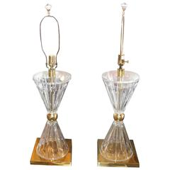 Pair of Lucite and Brass Lamps