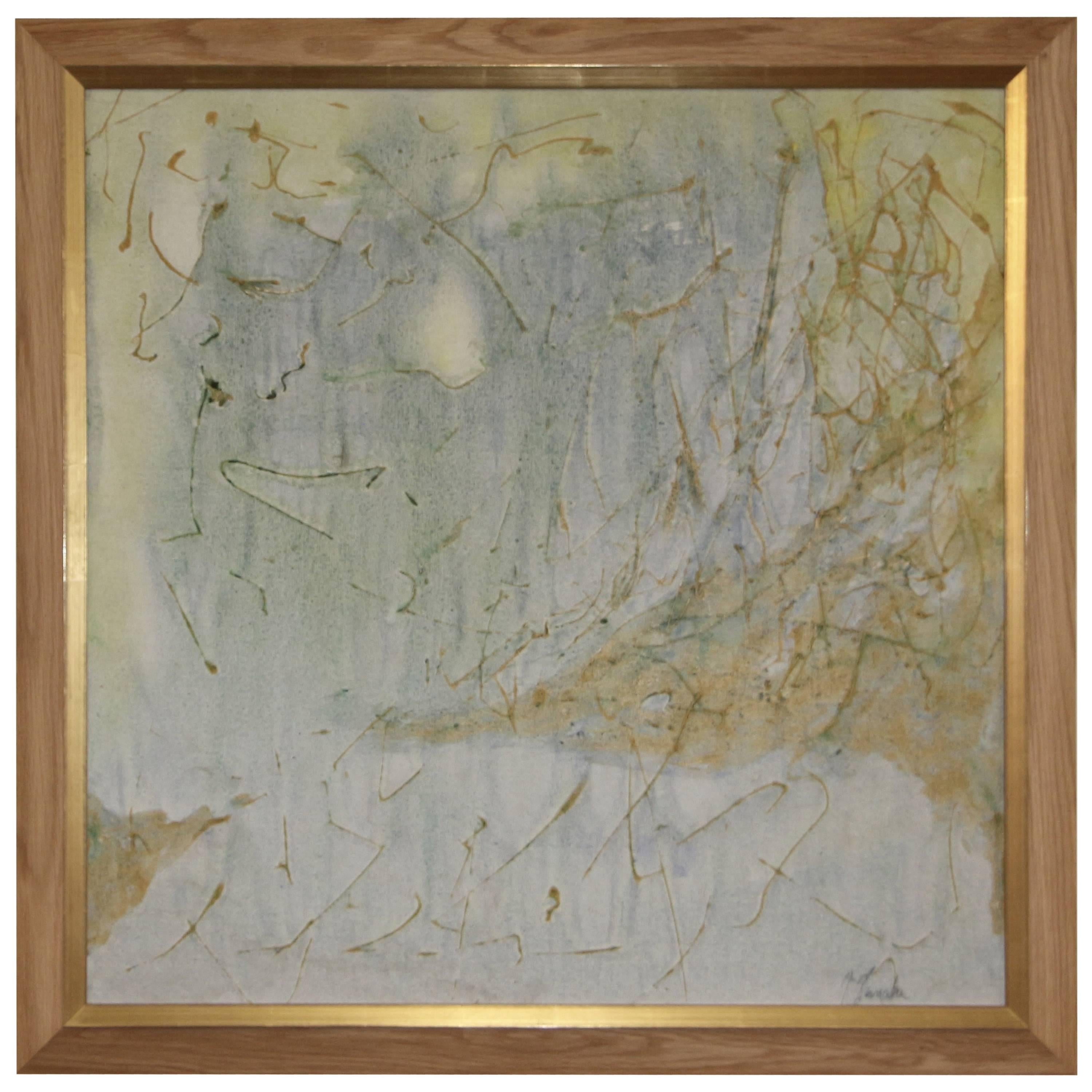 Great Abstract on Canvas, signed illegibly (Tanaka?)