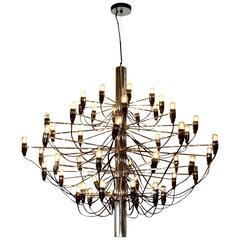 Custom made morrison lighting brass chandelier with for Gino sarfatti flos