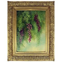 Oil on Canvas of Pepper Tree by Ellen Farr with Gilt Gesso Frame, circa 1888