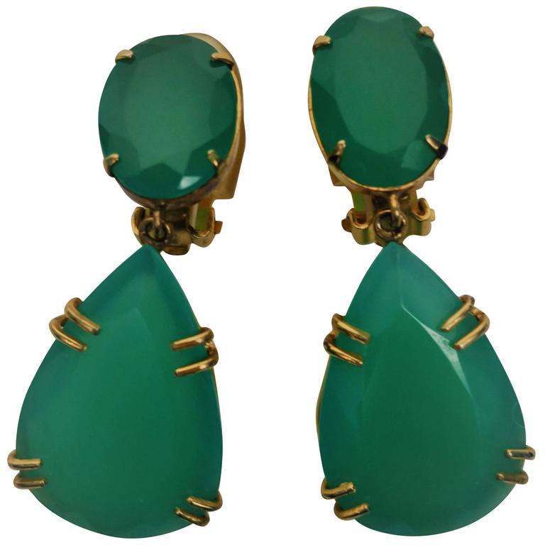 Pair of Large Emerald Green Chrysoprase Drop Earrings