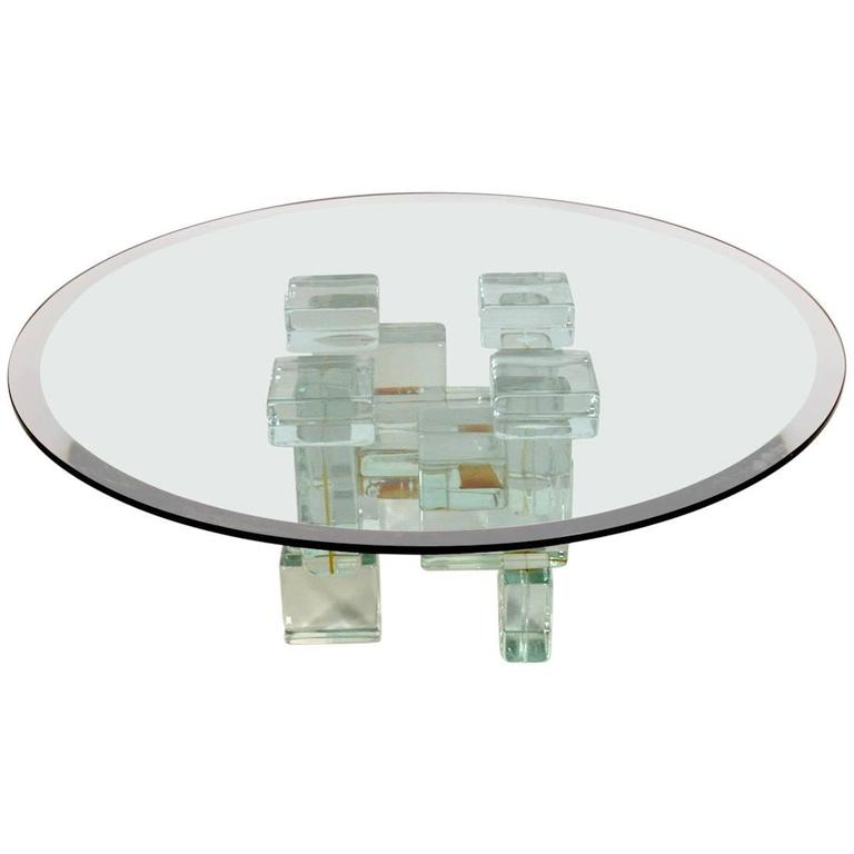 Glass Block Coffee Table For Sale