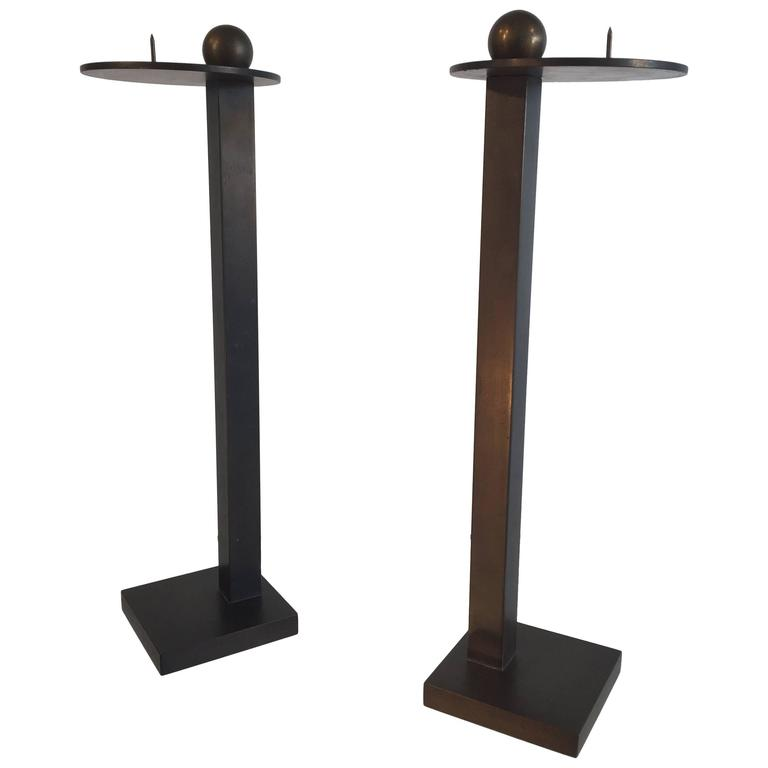 Post Modern Pair of Bronze Candle Holders by Lisa Waters