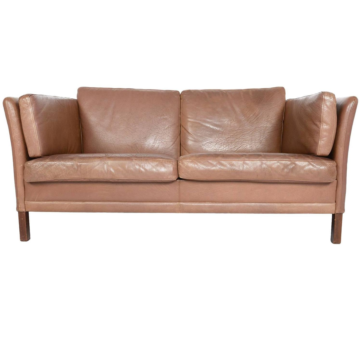 Stouby Brown Leather Loveseat Sofa at 1stdibs