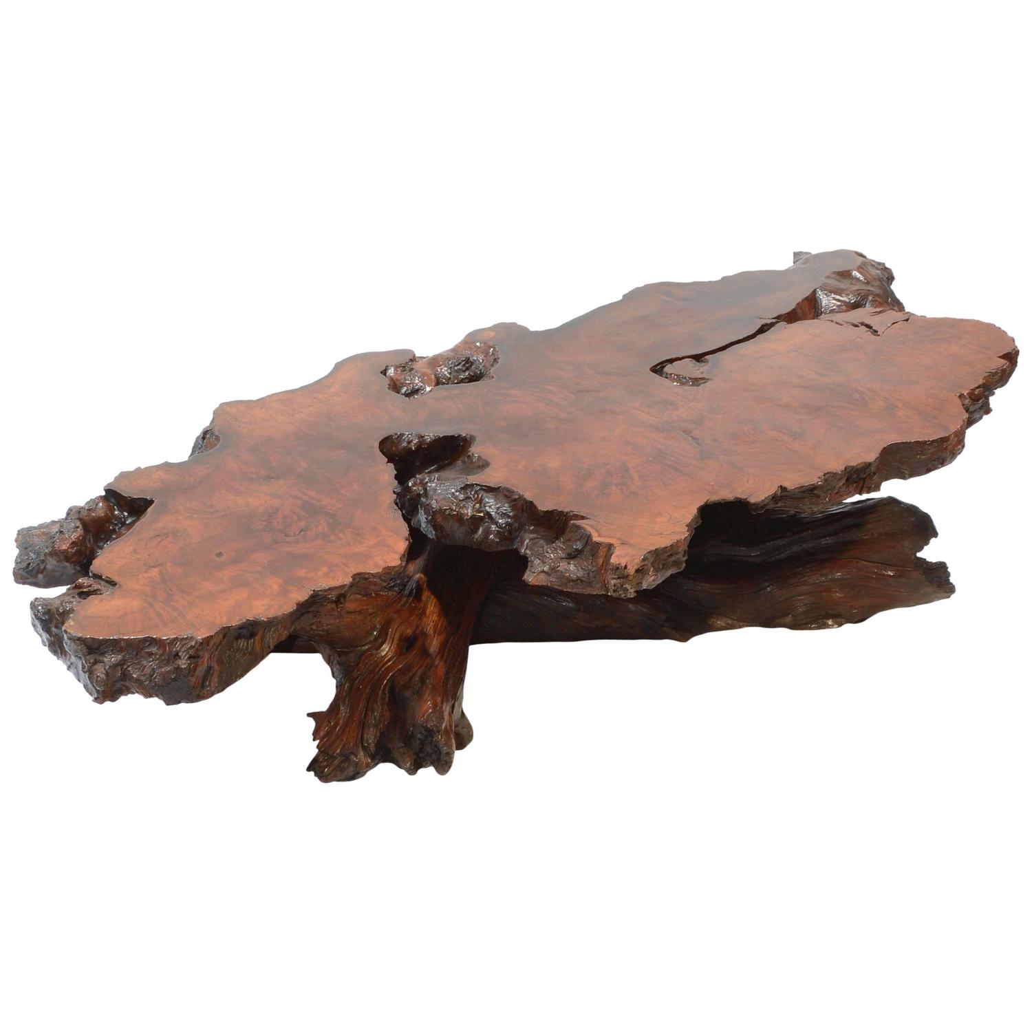 Nakashima Style Natural Burl Wood Stump Coffee Table For Sale at