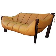 Yellow Leather Brazilian Percival Lafer Two-Seat Sofa or Loveseat