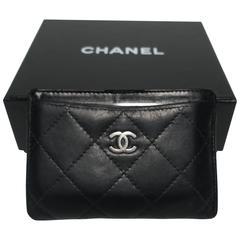 Black Chanel Leather Credit Card Case Holder or Wallet