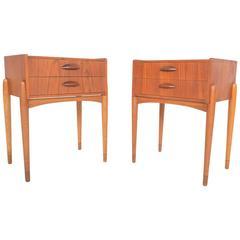 Pair of Danish Modern Teak or Oak Nightstands