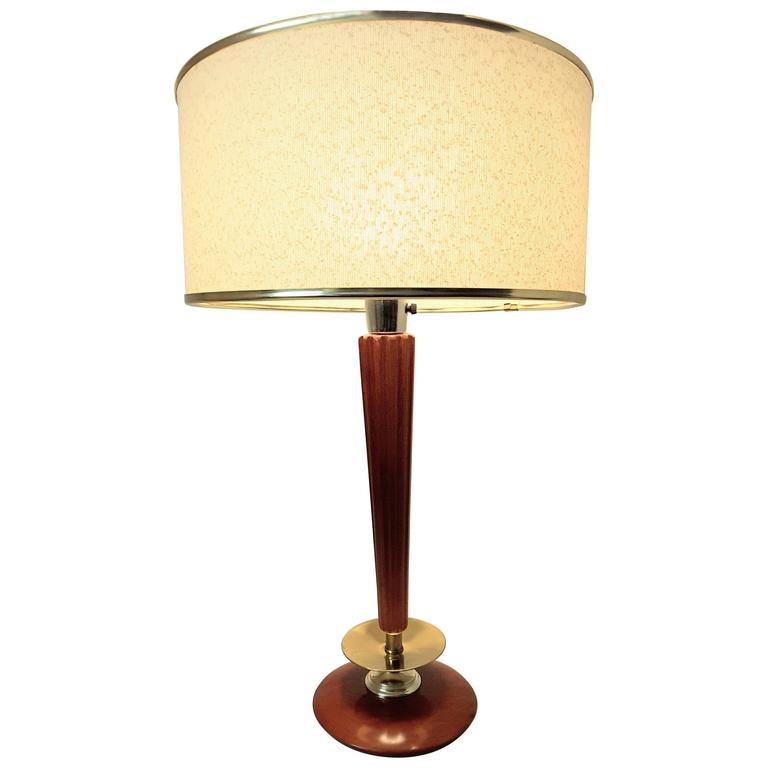 Mid-Century Modern Brass and Mahogany Classic Style Table Lamp