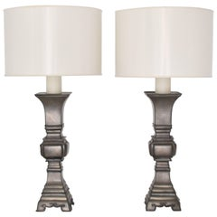 Pair of Midcentury Pewter Candlestick Table Lamps